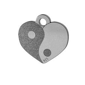 Yin Yang Srdce prívesok, striebro 925, LK-1479 - 0,50