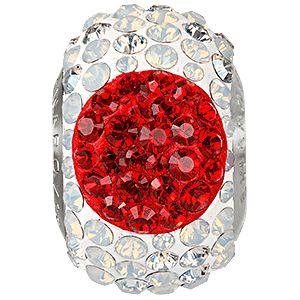81873 BeCharmed Pavé Flag Japan - beads Crystal, Light Siam, White Opal