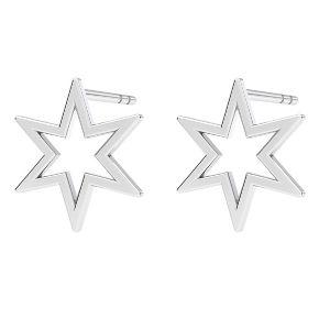 Hviezda náušnice, striebro 925, KLS LKM-2371 - 0,50 9,7x10,9 mm