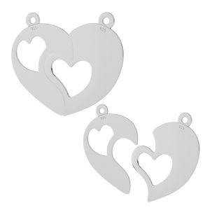 Rozdelené srdce prívesok striebro 925, LKM-2046